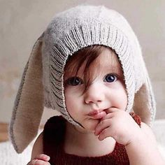 Cheap photography props, Buy Quality baby bonnet directly from China baby bonnet hat Suppliers: Baby Rabbit Ears Hat Winter Baby Bonnet Hat Knitted Infant Toddler Cap Girl Boy Accessories Photography Props Baby Hats Knitting, Knitting For Kids, Knitting Wool, Accessoires Photo, Pull Bebe, Cap Girl, Crochet Rabbit, Hat Crochet, Cotton Crochet