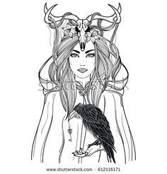 Hand drawn illustration of shaman woman in cloak with raven in hand and deer skull on the head. Alchemy, tattoo art, t-shirt design, adult coloring book page. Isolated vector on white background.
