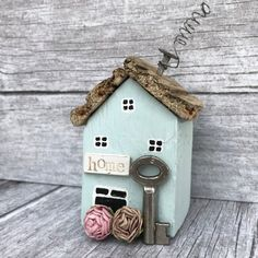 Little Wood House with Key New Home Housewarming Gift