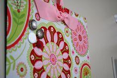 Fabric Magnet Board (12 x 9) Pink Paisley via Etsy