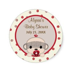 "<div> <font size=""2""><font face=""Verdana""><b>Design Description</b> <br />An EXCLUSIVE original design by <em>MonkeyHutDesigns</em>.</font></font></div> <div> </div> <div><font face=""Verdana"">Features an adorable baby BOY sock monkey. Features: polka dots and and shades of red, brown, beige color theme. These seal/stickers also match MonkeyHut's baby shower invitation. Leave it as with the honoree's party information or personalize with your own wording (It's a girl/boy!, It's a baby…"