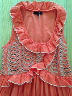 Ryu Cotton Dress Anthropologie Eyelet Scallop Hem Coral Tan Ladylike Small | eBay