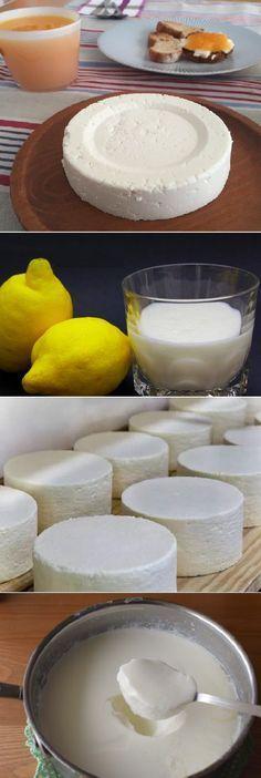Si tienes un litro de leche, 1 yogur y medio limón preparas el MEJOR queso fresco! Si te gusta dinos HOLA y dale a Me Gusta #queso #comohacer #limón #yogurt #leche #receta #recipe #cocina #nestlecocina QUESO FRESCO INGREDIENTES -1000 g de leche entera fresca, de la que venden refrigerada -1 yogur natural, sin edulcorar, ni griego, ni bífidus -El zumo de 1/2 lim... Cheese Recipes, My Recipes, Mexican Food Recipes, Sweet Recipes, Cooking Recipes, Favorite Recipes, Hispanic Dishes, Venezuelan Food, Queso Cheese