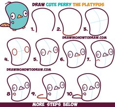 How to Draw Cute Kawaii / Chibi Perry the Platypus from Phineas and Ferb in Easy Steps Drawing Tutorial