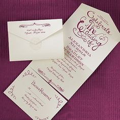 Celebrate the Wedding - Seal 'n Send - Ecru Texture Invite your guests to celebrate your special day with you with this fun swirl design invitation.