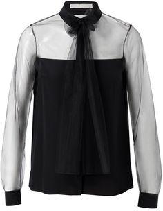 JASON WU Black Silk and Mesh Shirt