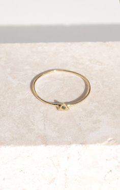 odette 14K tiny triangle ring w black diamond // anaise