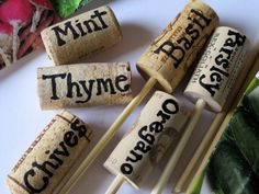 New diy garden signs plant markers wine corks Ideas