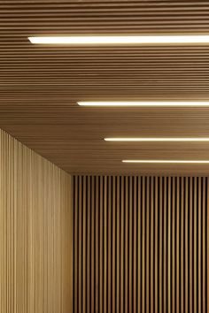 Slatted timber wall + ceiling