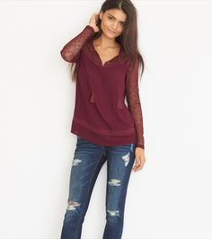 Mesh Sleeves A-Line Top