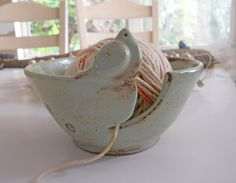 Yarn Bowl Knitting Bowl Mothers Day Gift Ceramic Yarn Bowl Bird Bowl Handmade Pottery IN PRODUCTION. $37.00, via Etsy.