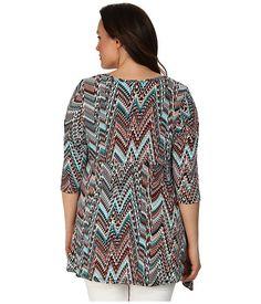 Karen Kane Plus Size Fashion Python Print Plus Size 3/4 Sleeve Handkerchief Top available from Zappos #karenkane #python #print #hanky #top #zappos #plus_size_fashion
