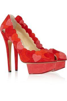 Charlotte Olympia Love Me heart-appliquéd suede pumps NET-A-PORTER.COM