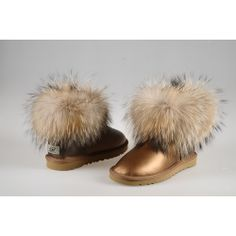 Cheap UGG Boots Womens Classic Mini Fox Fur 5845 Metallic Brown Black Friday and Cyber Monday