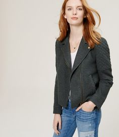 Primary Image of Quilted Moto Jacket - this would be great with silver hardware