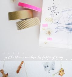 White envelope with gold and pink accents by BohèmeCircus