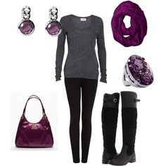 Love the black boots and the splash of purple