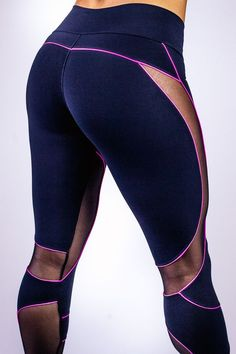 Indigo yoga pants w/ magenta trim & sheer panels (like the sweeping curves, just wish the sheer portion wasn't so revealing)