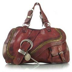 CHRISTIAN DIOR Leather Large Gaucho Double Saddle Bag