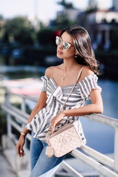 Chanel Vanity Case bag + stripe off the shoulder bag