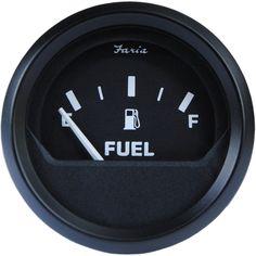 "Faria Euro Black 2"" Fuel Level Gauge (E-1/2-F) - https://www.boatpartsforless.com/shop/faria-euro-black-2-fuel-level-gauge-e-12-f/"