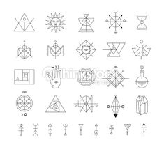 Set Of Vector Trendy Geometric Icons Alchemy Symbols Collection Vector Art | Thinkstock