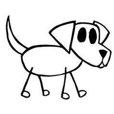 how to draw stick animals Dog Drawing Images, Drawing For Kids, Line Drawing, Painting & Drawing, Cartoon Kids, Cartoon Art, Stick Figure Drawing, Pen Doodles, Puppy Drawing