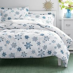 Falling Snow Flannel Sheets & Bedding Set | The Company Store - for sophie?