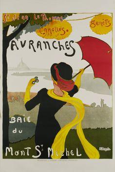Avranches, St Jean Le Thomas, Carolles, Genêts, Baie du Mont St Michel – Vintage poster – Albert BERGEVIN – 1910