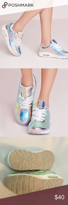 NWT holographic bubble detail trainers silver Missguided sneakers- look totally hot and own that treadmill at the gym in these bubble detail trainers, featuring holographic detail in a lace up style. Sold out online. Never been worn, UK 6/ US 8. Missguided Shoes Sneakers