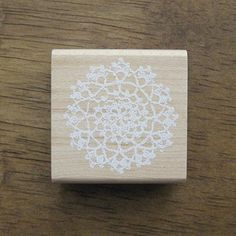 Cute Small ROUND Lace Doily Wooden Craft Rubber Stamp - Floral Lace Stamps - Craft Rubber Stamps