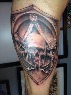 Masonic Skull & Crossbones Widows Sons & Shield by Artis Garcia