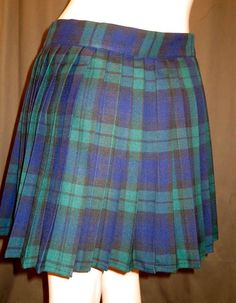 Black Watch Plaid Heavy Pleated Elastic Waistband Skirt ~Bridesmaid Wedding Wear Skirt  Black Green Blue Custom make  Plus Size@sohoskirts