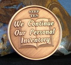 Solid Copper Alcoholics Anonymous AA Step 10 Medallion NA Narcotics Alanon Aa Steps, Alcoholics Anonymous, Al Anon, Devine Design, Sober Life, Addiction Recovery, Sobriety, Spiritual Awakening