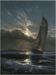Marek Ruzyk is a Polish painter who specializes in marine art. His seascape paintings, done in oil, are reminiscent of classic century artworks. Ship Paintings, Seascape Paintings, Landscape Paintings, Painting Art, Hyper Realistic Paintings, Indian Paintings, Painting Lessons, Landscapes, Graffiti Pictures