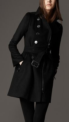 Burberry - gathered waist trench coat in wool & cashmere
