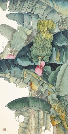Chen Renqian - Fruits of the Plantain Tree Botanical Drawings, Botanical Art, Botanical Illustration, Illustration Art, Wie Zeichnet Man Manga, Plant Drawing, Tropical Art, Asian Art, Japanese Art