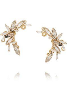 VICKISARGE|Gold-plated Swarovski crystal ear cuffs|NET-A-PORTER.COM