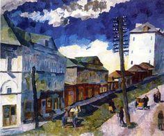 kaufen Gemälde'Street in Sergijew Possad' von Aristarkh Lentulov - Kaufen Sie eine handgemalte Ölreproduktion , Kunstreproduktion, Ölgemäldereproduktionen, Kunst auf Leinwand, Kunstwerksreproduktion, Leinwand Ölgemälde Reproduktion Kunstwerk