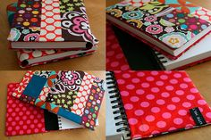 Book cover with fabric.