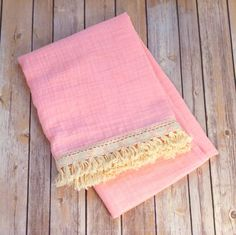 Toddler muslin blanket with fringe trim / blush peach pink Coral / boho / baby girl Muslin Blankets, Muslin Swaddle Blanket, Plum Color, Color Shades, Gift Of Time, Toddler Blanket, Boho Baby, Fringe Trim, Organic Cotton