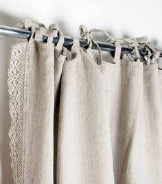 Lace Linen curtain  Custom length Ties top Window curtains