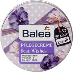 Balea Pflegecreme Best Wishes mit lieblichem Veilchen- & Freesien-Duft.Die reichhaltige Textur ist ideal für die Pflege von Körper, Gesicht und Lippen.
