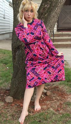 1970s Pink and Blue Floral Patterned Maxi by loveanddustvintage