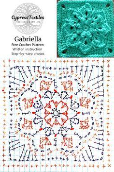 Crochet Motif - Raymond and Gabriella Squares - cypress Crochet Shawl Diagram, Crochet Motif Patterns, Granny Square Crochet Pattern, Crochet Chart, Crochet Squares, Free Crochet, Granny Squares, Crochet Quilt, Crochet Home
