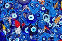 Evil eyes, intended to ward off evil, Capadoccia, Turkey Mystic Eye, Greek Evil Eye, Kind Of Blue, Evil Eye Jewelry, Evil Eye Charm, Weird World, Tiffany Blue, Cappadocia Turkey, Study Abroad
