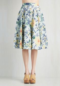 Library in Love Skirt - Yellow, Green, Floral, Casual, Vintage Inspired, 50s, Full, Summer, Woven, Better, High Rise, Long, Blue