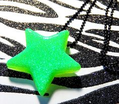 Green Star Necklace, Neon Resin Pendant, Lime Green, Black, UV Reactive Rave Jewelry by Allysin on Etsy