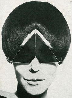 Model Peggy Moffitt in space age shades #blackandwhite
