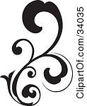 Clipart Illustration Of A Black Bold Curling Vine Scroll by OnFocusMedia